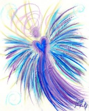 indigo crystal children angel art pastel painting