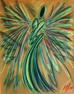 Angel of motivation pastel painting