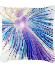 indigo crystal angel art woven throw pillow